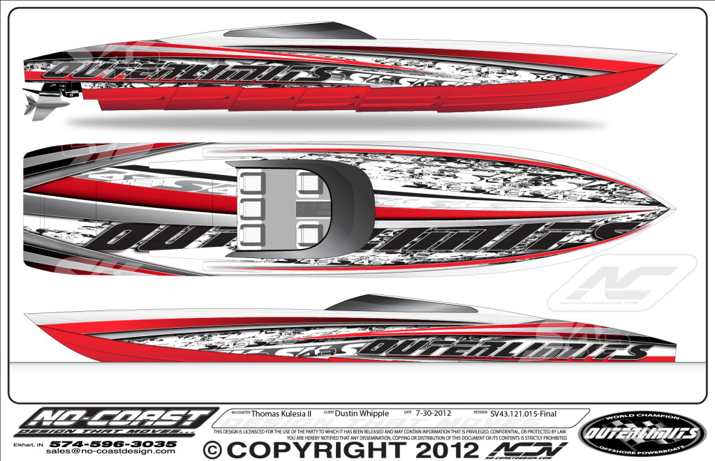 Outerlimits Powerboats Welcome - Custom houseboat graphics