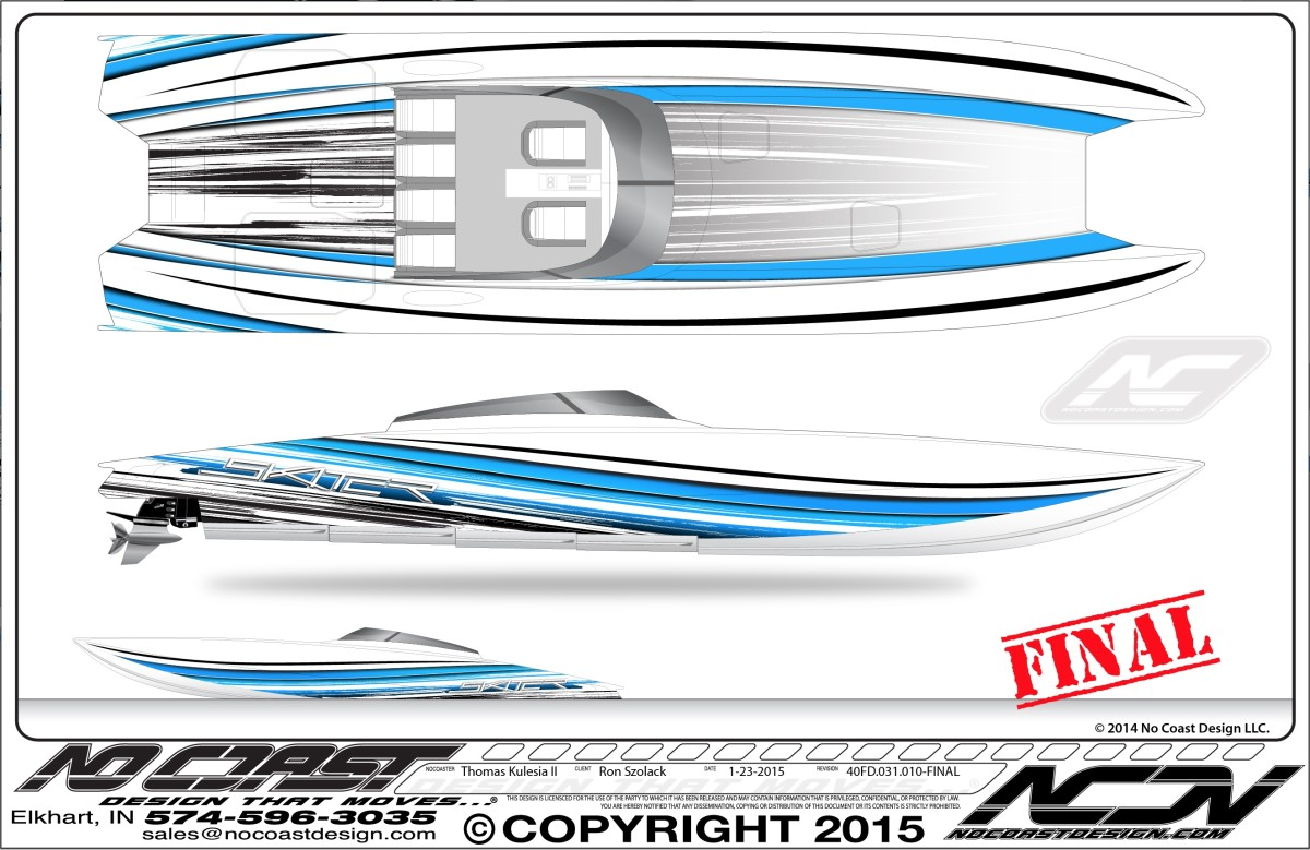 Skater Powerboat Paint Rendering by Thomas Kulesia II